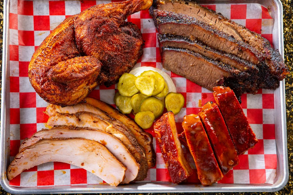 Barbecue sample platter catered by J2BBQ